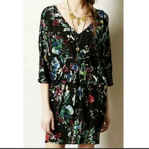 Maeve Short Black Floral Print Tunic Dress Size Small